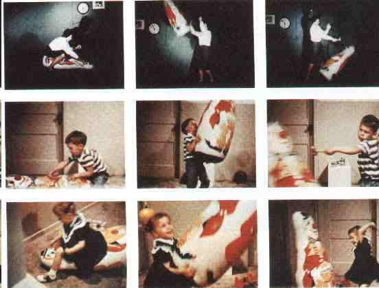 bobo doll experiment The bobo doll experiment was the collective name of experiments conducted by albert bandura in 1961 and 1963 when he studied children's behavior after watching an adult model act aggressively towards a bobo doll, a toy that gets up by itself to a standing position when it is knocked down there.